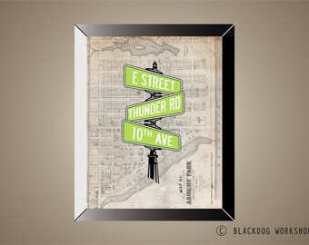 BRUCE SPRINGSTEEN Inspired Poster Print   11 x 14   Street Signs   Asbury Park   New Jersey   Thunder Road