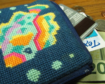 Fish Needlepoint Coin Purse
