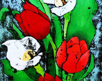 Tulips and Lilies - ooak - 20 x 16ins (50 x 40cms) Beautiful flowers for a beautiful lady