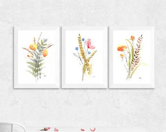 Wild flowers bouquets, all three, I, II, III // watercolor art, instant download one PDF, art size fits 8.5x11 inches, hand painted flowers