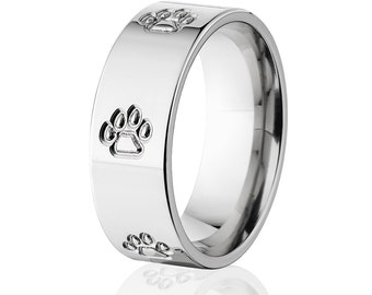 Bobcat Track Ring, Animal Track Bands, Outdoor Jewelry, Titanium Ring: 8F-BobcatO