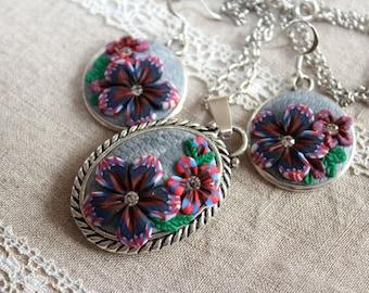 Handmade Polymer Clay Jewelry Set, Polymer Clay Applique Jewelry Set