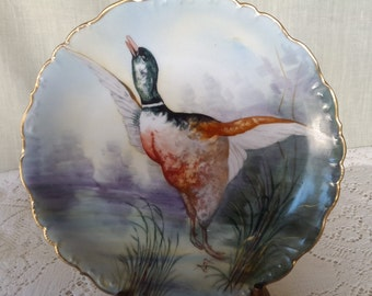 Limoges France Mallard Duck hand painted Elite plate