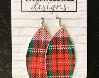 Red plaid leather leaf earrings made with sterling silver