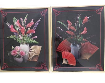80's Peter Langone Asian Floral Arrangement Posters