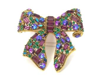 Blythe & Blythe Rhinestone Brooch, Bow Shape, Vintage 1970 Jewelry, Purple Blue Green Stones, Chunky 3-Dimensional, Statement Piece