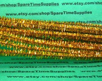 """Tinsel Stems - gold - 6mm x 12"""" - 48 pcs - Fibre Craft - #3250-61"""