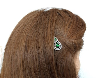 Emerald Green Hair Pins Crystal Hair Pin Victorian Emerald Green Rhinestone Jewelry Antique White Gold Emerald Bobby Pin Bridal Bobby Pin
