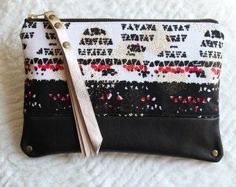Ankara & Leather Clutch | Handmade