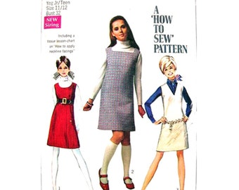 1960s Jumper Pattern Simplicity 7778 Sleeveless Dress How To Sew Junior Petite Bust 32 Vintage Sewing Pattern