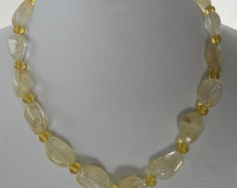 Lemon quartz nuggets and rounds make for a soft and sunny necklace.
