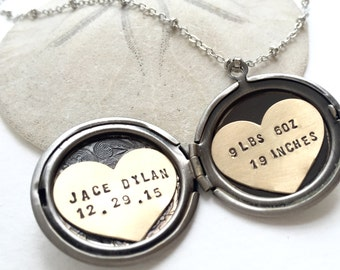 Personalized Necklace, New baby gift, Hand Stamped Jewelry, Personalized Jewelry, Gift for Grandma, gift for new mom