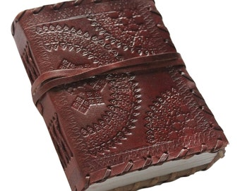 Ancient European Embossed Leather Journal Diary (Handmade) with leather tie closure