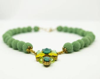 Light Green Coral necklace with handcrafted Swarovski crystals pendant.