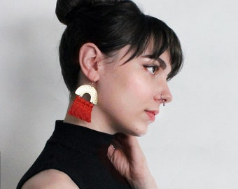 brass fringe earrings / CHRYSOS / boho statement earrings, large earrings, dangle earrings, bohemian, statement jewelry, lightweight, tassel