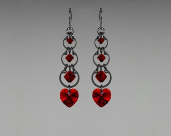 Red Swarovski Crystal Earrings, Siam Swarovski, Wedding Jewelry, Drop Earrings, Crystal Hearts,  Youniquely Chic, Crimson Progression