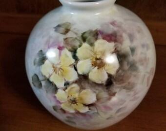 Vintage Hand Painted Floral Vase Artist Signed Francesca