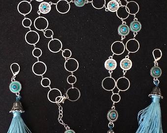 Antique Silver and Teal Tassle Necklace Set