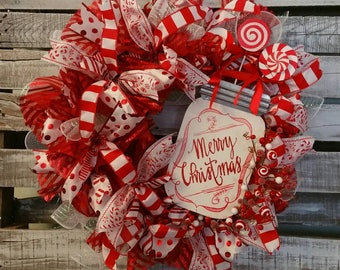 "Merry Christmas Candy Cane, Peppermint, Red, White, Silver, Christmas Mesh Wreath 27""."