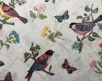 Birds and Butterflies Postcard Cushion / Pillow