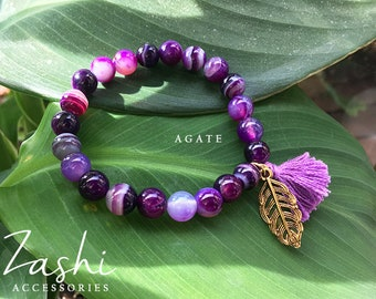 Purple Agate Bracelet with Gold Feather Charm
