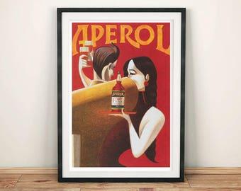 APEROL POSTER: Vintage Red Drink Advert, Alcohol Art Reprint