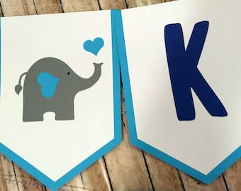 Elephant Baby Shower Banner, Elephant Baby Shower, Elephant Themed Party, Custom Name Banner, Mommy and Baby Elephant,  Mommy To Be Banner