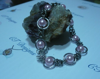 Bracelet Chainmaille Byzantine Weave with Pink Pearl Bracelet