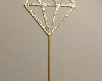 Diamond Cup Cake Topper, Diamond Party Decoration, Wedding Silver Diamond Cup Cake Topper, Bridal Shower, Diamonds