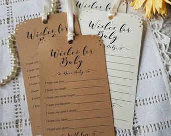 Set of 12 Baby Shower Wishing Tree Tags - Wishes for Baby / Gender Neutral / Kraft Paper White or Ivory / Vintage Rustic / Baby Shower Game