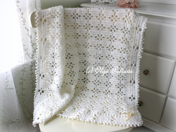 White Lace Baby Blanket Crochet Pattern Baby Afghan Baby