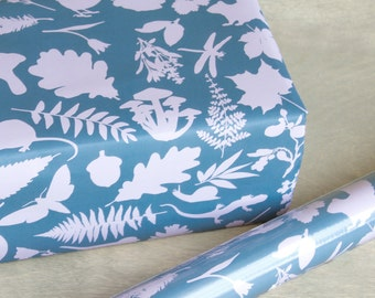 Botanical Wrapping Paper - 3 Sheets - In the Woods Wrap Slate Blue and Pink