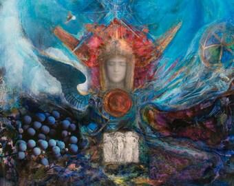 Art Print: Isis Altar(cropped) - Goddess Art- Healing Art-Visionary Art- Sacred Art-Prayer- Meditation Tool- Shari Landau - SacredArtbyShari