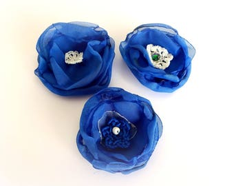 set of 3 organza flowers blue