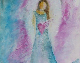 "Angel ""Open your Heart..."" 10 x 8 inch Waldorf Angel Spiritual Art"
