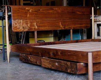Mid Century Modern Platform Storage Bed // Platform bed// Danish Modern // Storage Bed