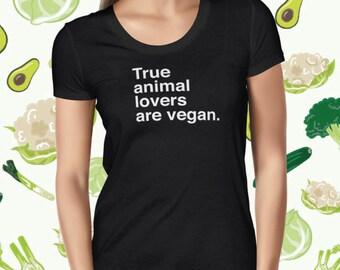 Vegan Animal Lover T-shirt for Women - Animal Rights Women's Shirt - Vegan Statement Tee - Plant-based T-shirt for Women - Vegetarian Tee