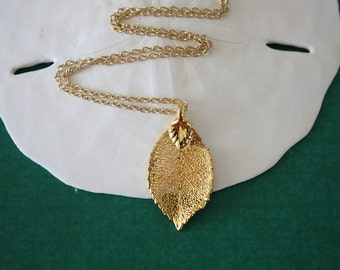 Gold Rose Leaf Necklace, Real Leaf Necklace, Rose Leaf, Gold Rose Leaf, LC85