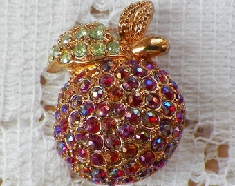 Small Vintage Red AB / Aurora Borealis Rhinestone Apple Shaped Brooch / Pin, Red Apple, Rhinestones, Pave Set