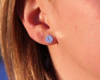8mm Silver Stamped Initial Stud Earrings