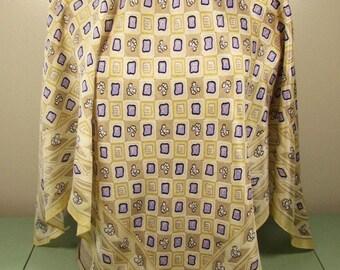 Lavender Purple Silk Scarf - Favolosa India Cream Geometric Square