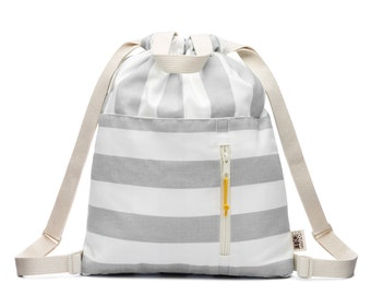 Storm Grey Stripe Canvas Drawstring Kids Backpack Tote Bag, Drawstring Pouch, Small Drawstring Bag, Cotton Drawstring Bag