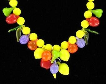 Fruit Salad Vintage Necklace Cha Cha Carmen Miranda Yellow Bakelite Era Boho Chic Tropical Statement Pop Art Modernist Bold Charms Unusual