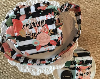 CUSTOM Padded Compact Digital Camera Bag + Strap Cover w Lens Pocket Crossbody Style by Watermelon Wishes