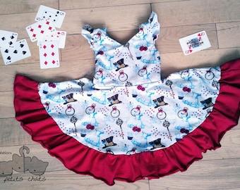 Summer Dress Alice in Wonderland / girl / flutter / ruffles / short sleeves / bows / open back / kid