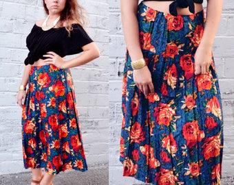 Vintage Floral Skirt. Vintage Large Flower Print Skirt.