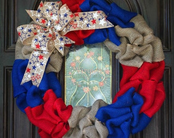 Patriotic Burlap Wreath, Fourth of July, Military, Memorial Day, Summer Wreath, Front Door Wreath, Memorial