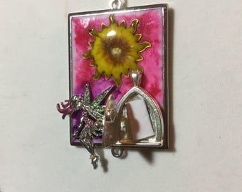 Rhinestone Fairy Necklace , Fairy Door Necklace , Fairy Garden Necklace with Opening Door , Fantasy Necklace