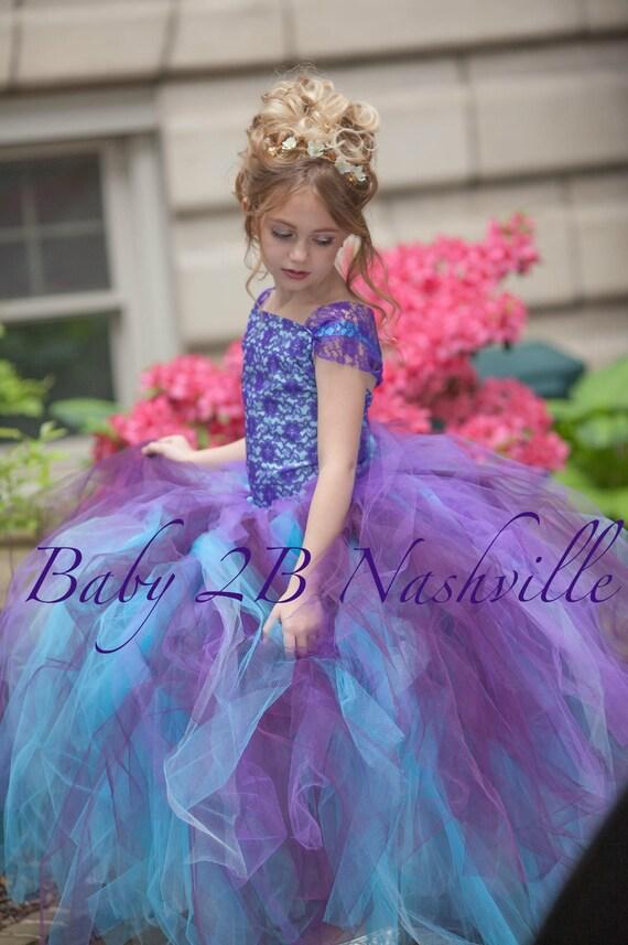 Vestido Aqua ciruela Vestido de encaje morado vestido tul