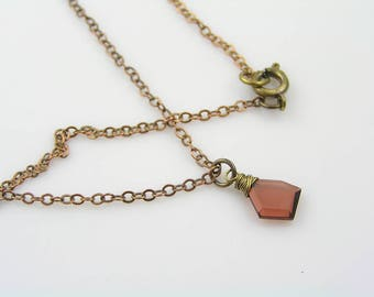 Garnet Necklace, Solitaire Necklace, Single Stone Necklace, January Birthstone Necklace, Garnet Jewelry, Garnet Pendant, N1435